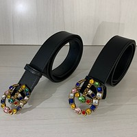 Guchi GG large color diamond belt