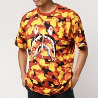 Bape Aape New fashion bust shark print camouflage top t-shirt Yellow