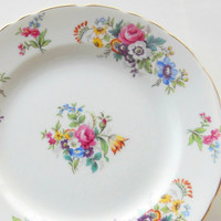 Vintage Delphine Spring Song English Plates, Set of 4, English Bone China, Tea Party,  Wedding, Lunch Plates, Cottage Style