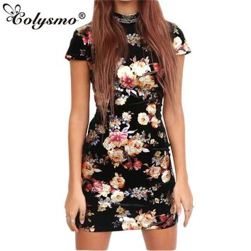 Colysmo Summer Dress Gold Spray Metallic Floral Bodycon Dress Sexy Backless Women Open Back Lace Up Mini Party Dress Vestido New