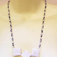gray marble stone squares beaded necklace glass gemstone boho jewelry