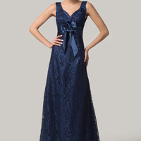 Navy Blue V-Neck Flower Bow Lace Maxi Evening Dress