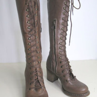 vtg Fiorentini & Baker Leather Lace Up Victorian Edwardian Steampunk Boots 5.5 6