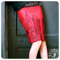 Red Pencil skirt  Victorian print  steampunk   by Carouselink