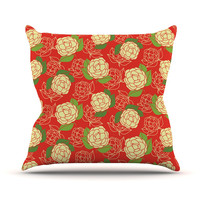 "Holly Helgeson ""Cammelia"" Red Yellow Outdoor Throw Pillow"