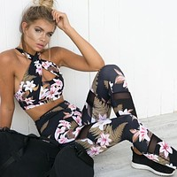 Women's Fitness Suits Crop Tank Workout Floral Printed Top And Legging Pants 2 Pieces Set 2017 Summer Ladies Sexy Tracksuit