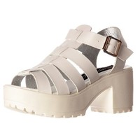 Onlineshoe Women's Cut Out Gladiator Chunky Cleated Sole Block Heel Platform Summer Sandals