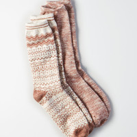 AEO Zig Zag Fairisle Crew Socks 2-Pack, Oatmeal Heather