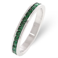 Stylish Stackables Emerald Silver Ring