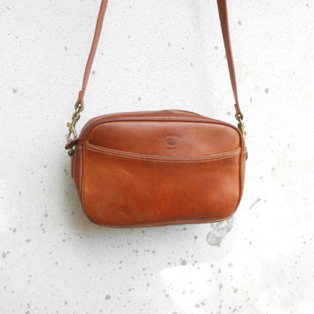 Vintage Leather Bag G.H.BASS & CO. Tan Brown Leather Crossbody Bag , Leather Purse / Small / Made in China
