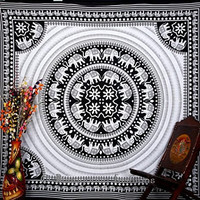 Indian Ethnic Elephant Round Mandala Hippie Tapestry, Bohemian Tapestries , Psychedelic Mandala Cotton Tapestries, Bedspread Beach Coverlet Throw Decor Wall Art, Queen 86x94 By Bhagyoday