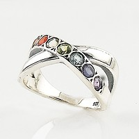 Multi Gemstone Sterling Silver Chakra Infinite Ring