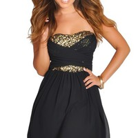 Black and Gold Sequins Sweetheart Ruched Strapless Dress