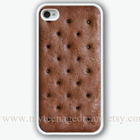 iphone case, iPhone 4 Case, iPhone 4s Case, iphone case 4s, Ice Cream Sandwich Pattern Print iphone white hard case for iphone 4, iphone 4S
