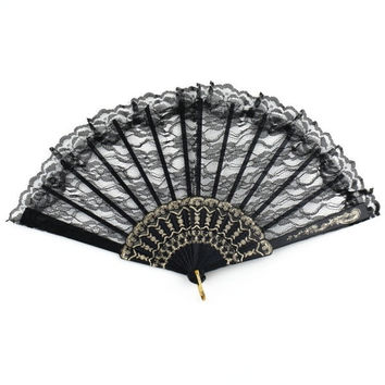 Chinese Vintage Fancy Dress Costume Party Bar Dancing Folding Lace Hand Fan = 1946006340