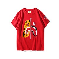 BAPE Tide brand classic camouflage tiger head shark round neck short-sleeved T-shirt F-A-KSFZ red