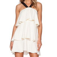 2015 Women Sexy V-Neck Halter Strap Layers of Flounced Dress Cake Camisole White Color = 1667475524