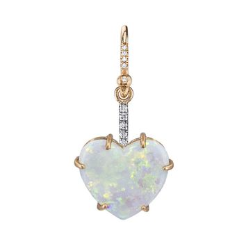 One-Of-A-Kind Carved Opal Heart Single Earring - Rose Gold