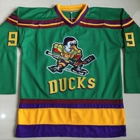 Mighty Ducks Jersey 66 Gordon Bombay 96 Charlie Conway 99 Adam Banks Hockey Jersey The Mighty Ducks Of Anaheim Men Movie Jersey Green S-3XL