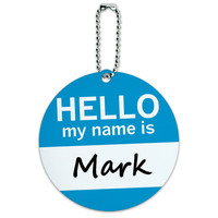 Mark Hello My Name Is Round ID Card Luggage Tag