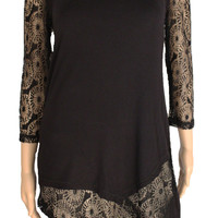 Multiples Black 3/4 Sleeve Solid Knit/Lace Top