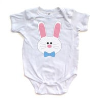 Boy Bunny - Easter - White Short Sleeve Baby Bodysuit - 0417-4400-WHI
