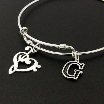 Music Note Heart Clef Expandable Bangle Bracelet STERLING SILVER Initial treble clef Personalized Initial Charm Adjustable Bangle Bass clef