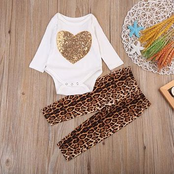 Lovely Sequins Baby Girl Onsie + Leopard Pants Outfit Set