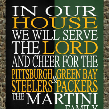 A House Divided - Pittsburgh Steelers & Green Bay Packers NFL personalized family poster Christian gift sports art -multiple sizes