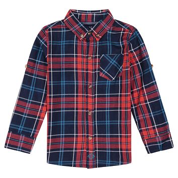 Boys Double-Faced, Red And Black Checker Print Long Sleeve Button Down Shirt