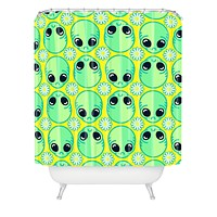 Chobopop Sad Alien And Daisy Pattern Shower Curtain