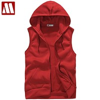 New Fashion Casual Men Sleeveless Hoodies Slim Fit man Hip Pop Vest hooded Waistcoat Zipper Hoodies Sweatshirts For Men