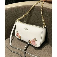 Coach Fashion New Embroidery Floral Leather Shopping Leisure Shoulder Bag Women White
