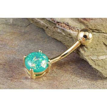 Green Opal Gold Belly Button Ring