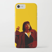 Mia Wallace - Yellow iPhone Case by ourbodiesbreak