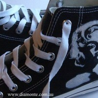 Hand Painted Marilyn Monroe On Black Converse Shoes
