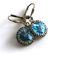 Crystal Blue Earrings, Antique Brass Leverback Earrings, Aquamarine Swarovski Crystals, Vintage Style Jewelry