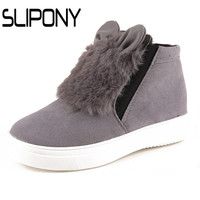 slipony Woman Platform With Fur Korean Style Ears women winter shoes Boots plush slip on For Student Snow Shoes Female Warm Bota