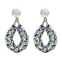 The new fashion hollow alloy crystal water drops pendant earrings jewelry