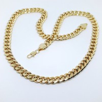 1-1638-g7 Gold Plated Thick Cuban Link Chain. 10mm.