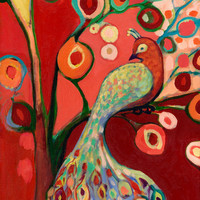 Red Peacock Tree Abstract 8 x 12 inch Bamboo Fine Art Print by Jenlo, 8x12 and Larger