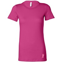 Breast Cancer Embroidered Ribbon Bottom Ladies Longer Length Tee