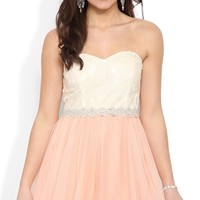 Strapless Dress with Daisy Lace Bodice and Pleated Skirt