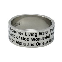 Christian Unisex Abstinence Stainless Steel 8mm Names of Jesus Purity Ring for Guys & Girls