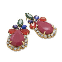 Ornate Multicolor Acrylic Fashion Earrings with Crystal
