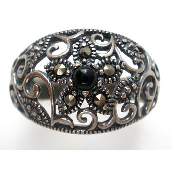 Ross Simons Black Onyx Ring Sterling Silver Size 8