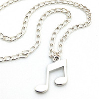 Music Notes Necklace, Sterling Silver Eighth Notes Necklace, Silver Minimalist Necklace, Musical Notes Necklace, Sterling Silver Necklace