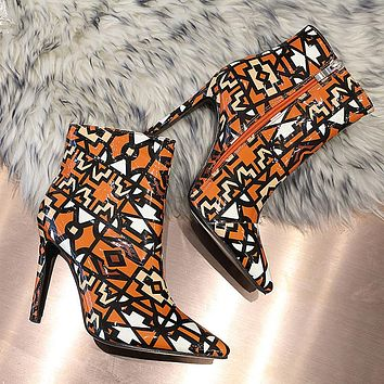 New women's shoes stiletto pointed toe boots children's plus size color matching