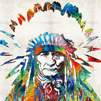 Native American Art - Chief - By Sharon Cummings
