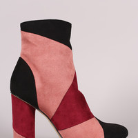 Colorblock Suede Rounded Heel Ankle Boots